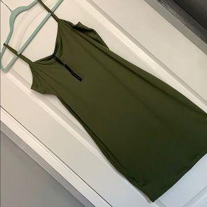 SPAGHETTI STRAP OLIVE GREEN  BODY CON DRESS